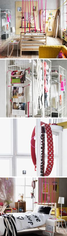Here's how to express your individuality in the bedroom - create a DIY room divider using fabric, weave old shirts and other textiles through a mesh wardrobe, use a plant stand as a hair and make- Diy Garden Furniture, Home Furniture, Table Top Redo, Diy Room Divider, Room Dividers, Ikea Catalogue 2015, Bedroom Storage, Garage Bedroom, Desk Organization Diy