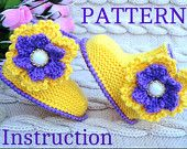 Knitting PATTERN with Crochet Flowers Baby Shoes Baby Booties Infant Booty Newborn Baby Girl Pattern Children Knit Crochet Pattern  PDF file