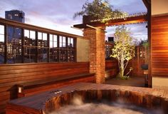 Rooftop hot tub.