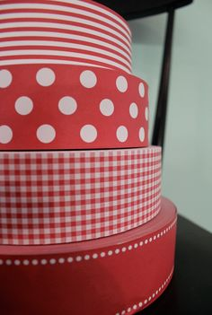 Red Check Paper Ribbon Gift Wrap, via Etsy. Ideas for how to match and use all that red check fabric I inherited.