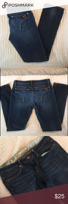 """SALE🎄Joe's Jeans, W28, Straight Leg Joe's Jeans in great condition! Burke wash, Fit is """"Rolled Cigarette."""" Medium dark blue denim with some fading (on purpose!). Ruche denim detail is around the top of jeans. Rise is medium low. Inseam 31.5"""", Waist 28"""".                                        🌟Dry clean OR machine wash cold, inside out / feel free to ask questions or make an offer 🌟 Joe's Jeans Jeans Straight Leg"""