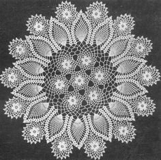 1953 Rose and Pineapple Doily Crochet Pattern