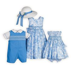 Captivating Blue Floral Brother Sister Outfits Picture perfect brother-sister outfits with delicate hand-smocked bodices. Girls' cotton dresses in a beautiful floral print with contrasting blue and white stripe tie back sashes.