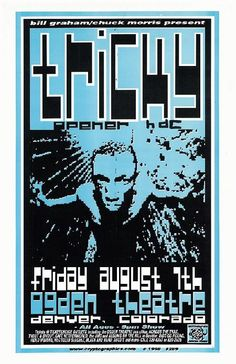 Original concert poster for Tricky at the Ogden  in Denver, CO.  11x17 thin paper.   Art by Jeff Holland
