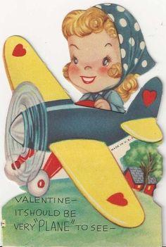 "retro valentine of ""Rosie"" flying a plane WW II."