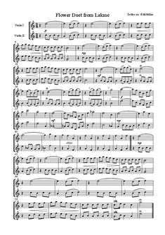Learn Piano Sheet Music Flower Duet from Lakme (for two violins) Free Violin Sheet Music, Print Sheet Music, Violin Music, Piano Sheet, Violin And Cello Duets, Song Sheet, Violin Lessons, Music Lessons, Download Sheet Music