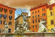 Fontana del Nettuno, fountain of Neptune, Piazza Navona, Roma, Italy by Elenarts - Elena Duvernay photo Piazza Navona, Famous Places, People Art, Statue Of Liberty, Fountain, Wall Art, Artwork, Painting, Travel