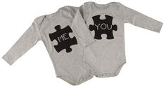 "Baby onesies for twins with ""me you puzzle"" print. In mytwins collection! Love Twins, Twin Babies, Onesies, Puzzle, Sweatshirts, Sweaters, Kids, Baby, Clothes"