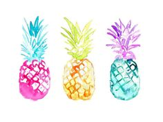 KelseyMDesigns - This is a print from my original watercolor painting Playful Pineapples  The print version comes on 100lb high quality laser print paper. Size: 5
