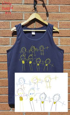 Personalized male cotton tank top with your child drawing personalized gift custom handmade Personalized Gifts, Handmade Gifts, People Art, Drawing For Kids, Little People, Your Child, Screen Printing, Tank Tops, Trending Outfits