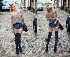 Off the shoulder, denims shorts and thigh hiiighs <3