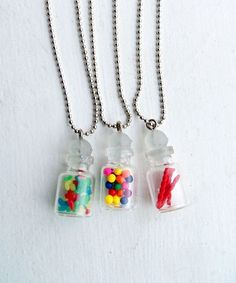 Licorice Ropes In a Glass Bottle Miniature Food Jewelry/Jewellery