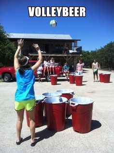 This volleyball version of beer pong is quite epic. Simple take some big trashcans and paint them red and white. (Duct tape the sides for an extra 3D-stripes effect.) Then grab a volleyball and start to play! -SvH