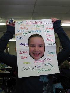 Students must find 20 adjectives that describe themselves. Awesome Beginning of School Activity.take a pic with the student and their adjectives! End Of School Year, Beginning Of School, Too Cool For School, School Fun, School Ideas, Teaching Writing, Student Teaching, Teaching Resources, Human Resources