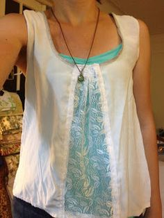 Cut a shirt down the front and sew in a strip of lace. Good thing to try with thrift store purchase. From: Refashion Co-op: One last try
