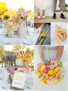 A yellow & pink vineyard wedding...so pretty!! and love the color of these bridesmaids dresses!