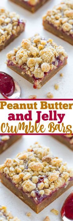 Peanut Butter and Jelly Crumble Bars - Soft and chewy PEANUT BUTTERY bars topped with strawberry jelly and a crispy oatmeal crumble topping!! Easy, no-mixer recipe that'll be your new FAVORITE way to eat PB&J!! Make them for your next party!