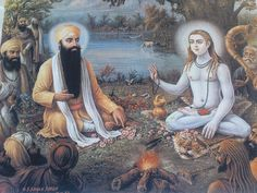Guru Ram Das Ji & Baba Sri Chand- Painting by KhalsaSoulja, via Flickr