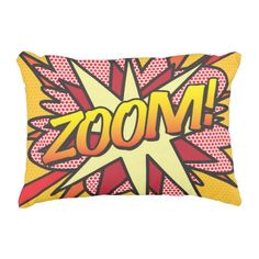 Comic Book ZOOM! accent pillow cushion