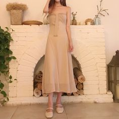 Retro South Korea chic wind care machine word shoulder chest style dress Slim was slim sexy strapless long skirt