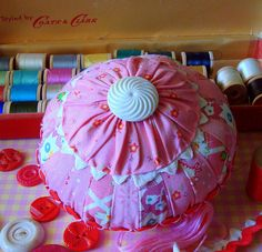 Pink Scrap Basket Pincushion by She'sSewPretty, via Flickr
