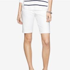 NWT Ralph Lauren White Stretch Bermuda Shorts 20W New Lauren By Ralph Lauren White Stretch Bermuda shorts.  An elongated silhouette enhances the streamlined style of these stretch cotton shorts from Ralph Lauren. Team it a t-shirt and heels for lunch at the country club. Belt loops, zip fly with button closure, two front waist angles pockets, cotton/elastine, machine wash. Retail $65 tags attached Size 20W Ralph Lauren Shorts Bermudas