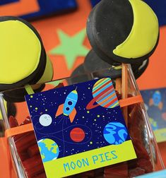 Space Ship Birthday Party Supplies including invitations, beverage wrappers, dessert tags, napkin rings, cupcake toppers, cupcake wrappers and so much more | thecelebrationshoppe.com