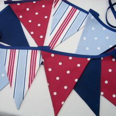Fabric Bunting  Nautical Style New Handmade  Red White Blue Navy  15ft plus ties  17 double sided pennant flags
