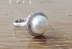 Freshwater White Pearl Diamond Halo Ring in Sterling Silver