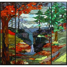 46.5 Inch W X 49 Inch H Tiffany River Of Life Stained Glass Window - Custom Made