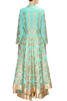 This sea green lehenga shirt is made in gorgette fabric having golden colour applique work. Bottom lehenga of this anarkali lehenga set is in net fabric with lurex border. Dupatta is also in gorgette