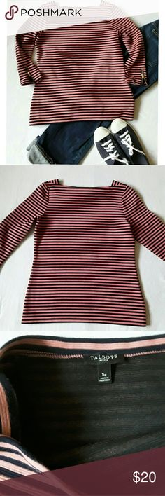 Talbots striped boat neck shirt size Sp Euc, no flaws.  Beautiful top with functioning zipper detail on the 3/4 length sleeves. The colors are navy blue and a salmon pink. Nice medium weight material  68% cotton,  30% polyester,  2% spandex . Length ca. 23.5 inches, chest armpit to armpit ca. 18 inches. Talbots Tops