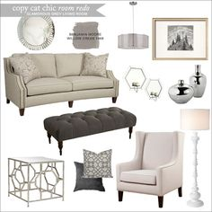Copy Cat Chic: Copy Cat Chic Room Redo | Glamorous Grey Living Room