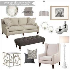 Copy Cat Chic: Copy Cat Chic Room Redo | Glamorous Grey Living Room