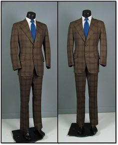 Vintage Mens Suit 1970s AMERICAN MOD Brown Plaid 2 Two Piece Mens ...
