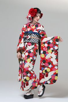 """The beauties of nature"" Furifu ふりふ Autumn & Winter Collection Yae… Japanese Fabric, Japanese Kimono, Japanese Girl, Geisha, Tribal Costume, Modern Kimono, Kimono Japan, Kimono Design, Japanese Costume"