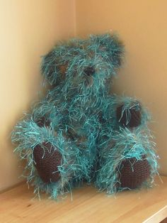 Knitted teddy bear Handknitted bear Green and by LatharnaBears, £60.00