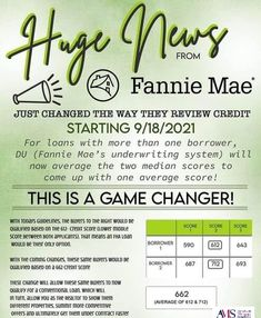 Effective on 9/18/21, Fannie Mae announced that their Automated Underwriting System will now take an AVERAGE of the two scores for qualifying Fannie Mae announced that their Automated Underwriting System will now take an AVERAGE of the two scores for qualifying Do you and your partner have very different credit scores? Great news! You may have access to more loan program options than you thought! Here's the deal... All lenders pull FICO scores from each of the three credit bureaus to qual Credit Bureaus, Fannie Mae, Louisville Kentucky, First Time Home Buyers, Credit Score, Scores, The Borrowers, Thoughts, News