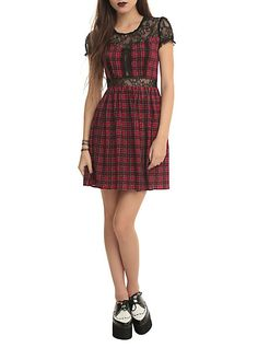 Royal Bones Red Plaid Lace Dress | Hot Topic