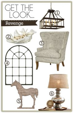 1. Greenhouse Chandelier from Ballard Designs 2. Large Atlantis Clam Shell from Z Gallerie, 3. Thurston Wing Chair (in Document Brown) from Ballard Designs 4. Montclair Mirror from Z Gallerie 5. Faux Driftwood Horse from Z Gallerie 6. Antique Mercury Glass Table Lamp from Pottery Barn