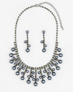 Gem & Pearl-Like Earrings & Necklace Set - This matching set boasts shimming gems and pearl-like beads for an alluring and glamorous look.