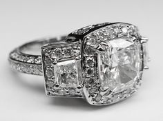 Cushion Diamond Vintage Design Halo Engagement Ring Brilliant trapezoids side stones - ES648M