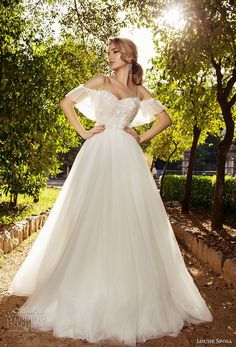 louise sposa 2018 bridal cold shoulder half sleeves sweetheart neckline heavily embellished bodice romantic a line wedding dress sweep train (13) mv -- Louise Sposa 2018 Wedding Dresses #weddings #bridal #wedding
