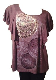 Style & Co. Plus Size 2X Printed Flutter-Sleeve Top Retail $36. #StyleCo #Blouse