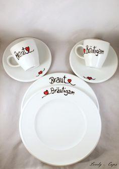 wir feiern Hochzeit :Service für Braut Bräutigam  von Lovely-Cups auf DaWanda.com