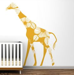 Kids wall decal big large giraffe wall decal floral large safari theme gender neutral decal for baby room decor -  Floral Giraffe. $69.00, via Etsy.