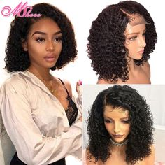 Cheap Human Hair Lace Wigs, Buy Directly from China Suppliers:Mshere Short Curly Human Hair Wigs Brazilian Bob Lace Front Human Hair Wigs For Black Woman 150% Pre Plucked With Baby Hair Remy Enjoy ✓Free Shipping Worldwide! ✓Limited Time Sale ✓Easy Return. Cheap Human Hair, Human Hair Lace Wigs, Malaysian Hair, Wigs For Black Women, Remy Hair, Weave Hairstyles, Kinky, Curly, Hair Styles