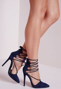 Get ahead of the shoe game with these on trend blue lace up pointed pumps.