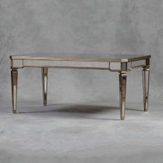 Antiqued Venetian Dining Table with Silver Trim - dining tables