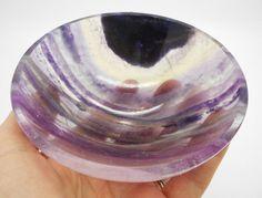 Purple Fluorite Hand Carved Gem Stone Bowl Reiki Wicca Altar 107 MM - 286 Grams